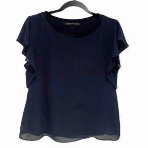Zara | Blue Ruffled Short Sleeve Chiffon Top